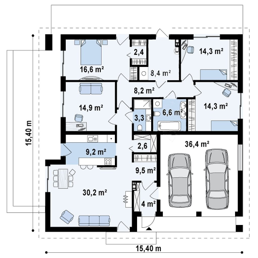 Одноэтажный дом из газобетона 180м