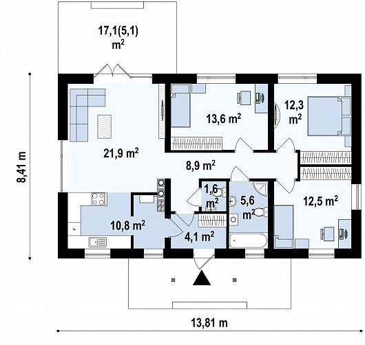 Одноэтажный дом из керамического блока 96м