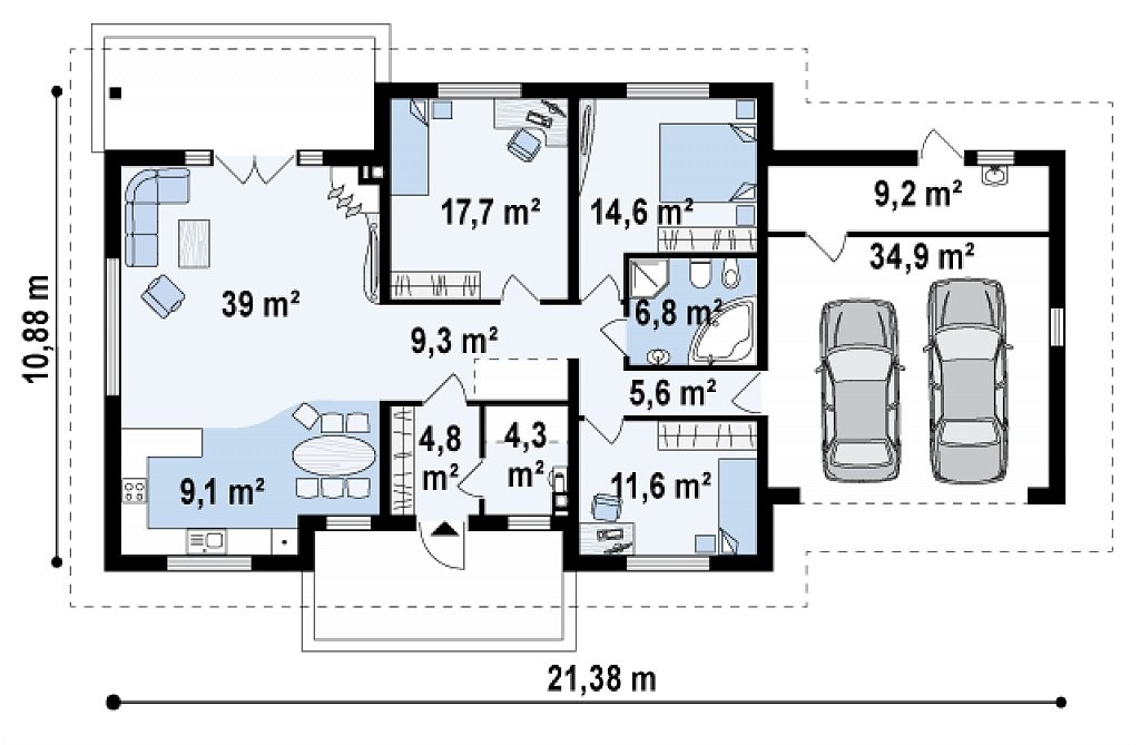 Одноэтажный коттедж из керамического блока 166м