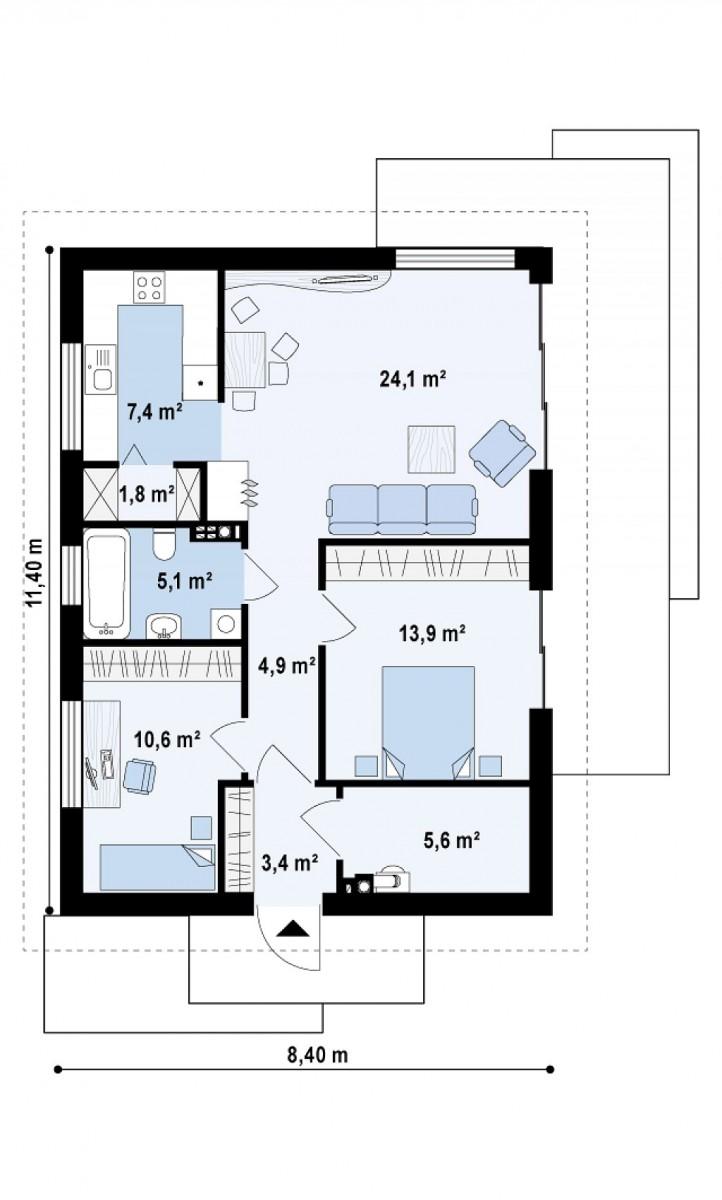 Одноэтажный дом из газобетона 76м
