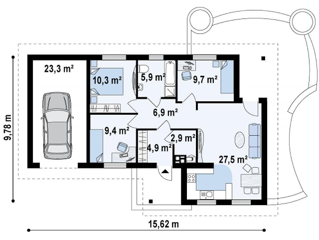 Одноэтажный дом из газобетона 100м
