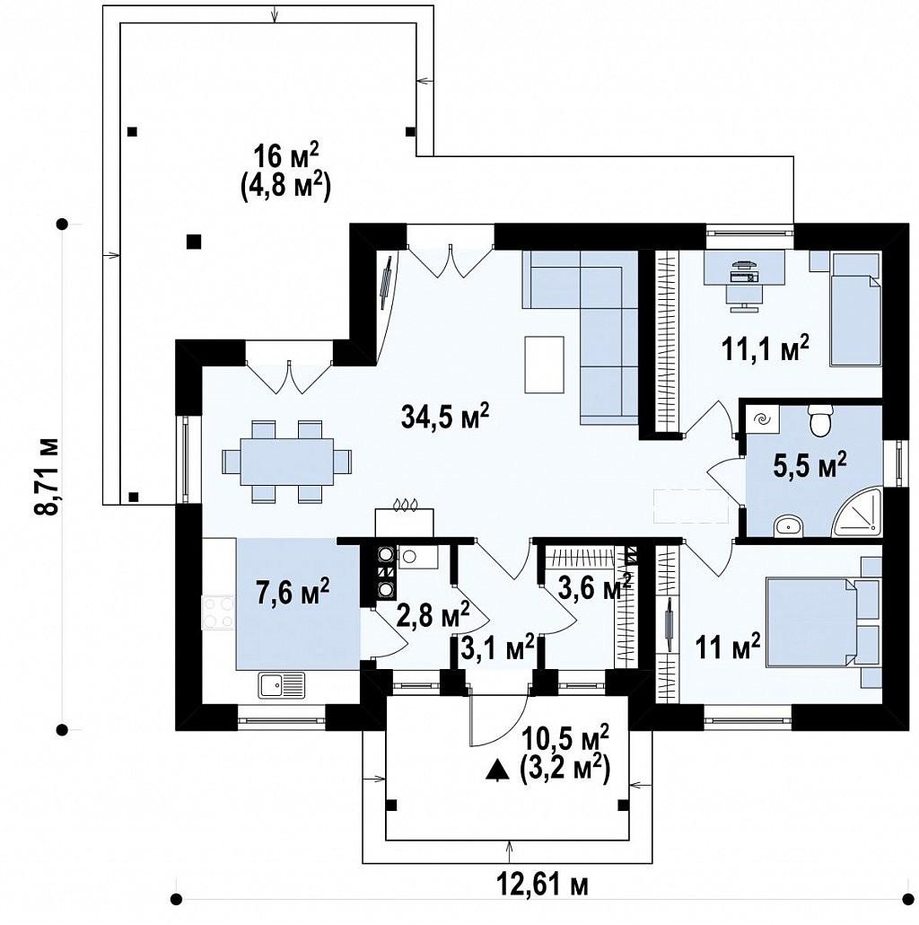 Одноэтажный дом из керамического блока 87м