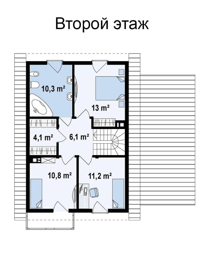Двухэтажный коттедж из газобетона 141м