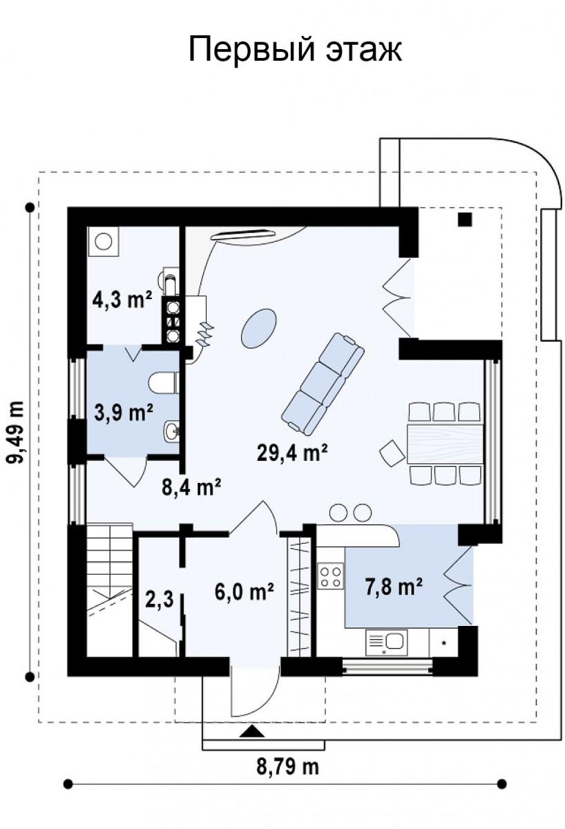 Двухэтажный дом из керамического блока 122м с панорамными окнами