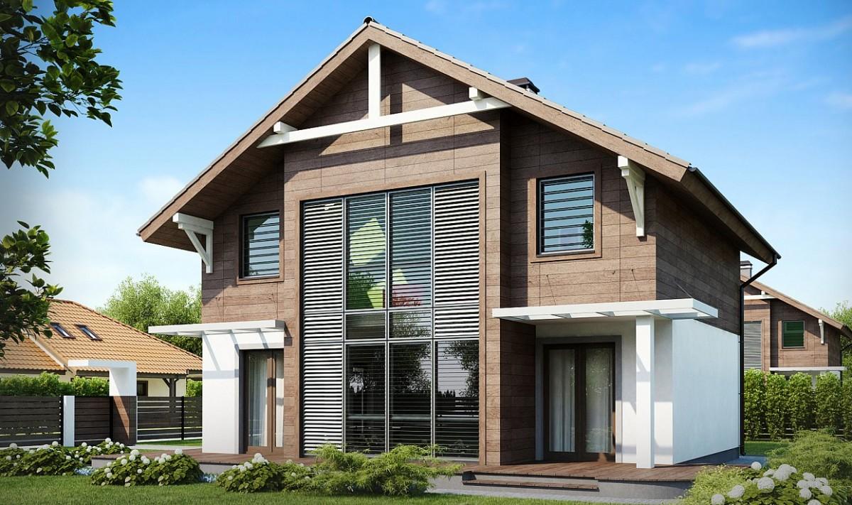 Двухэтажный коттедж из газобетона 122м с панорамными окнами