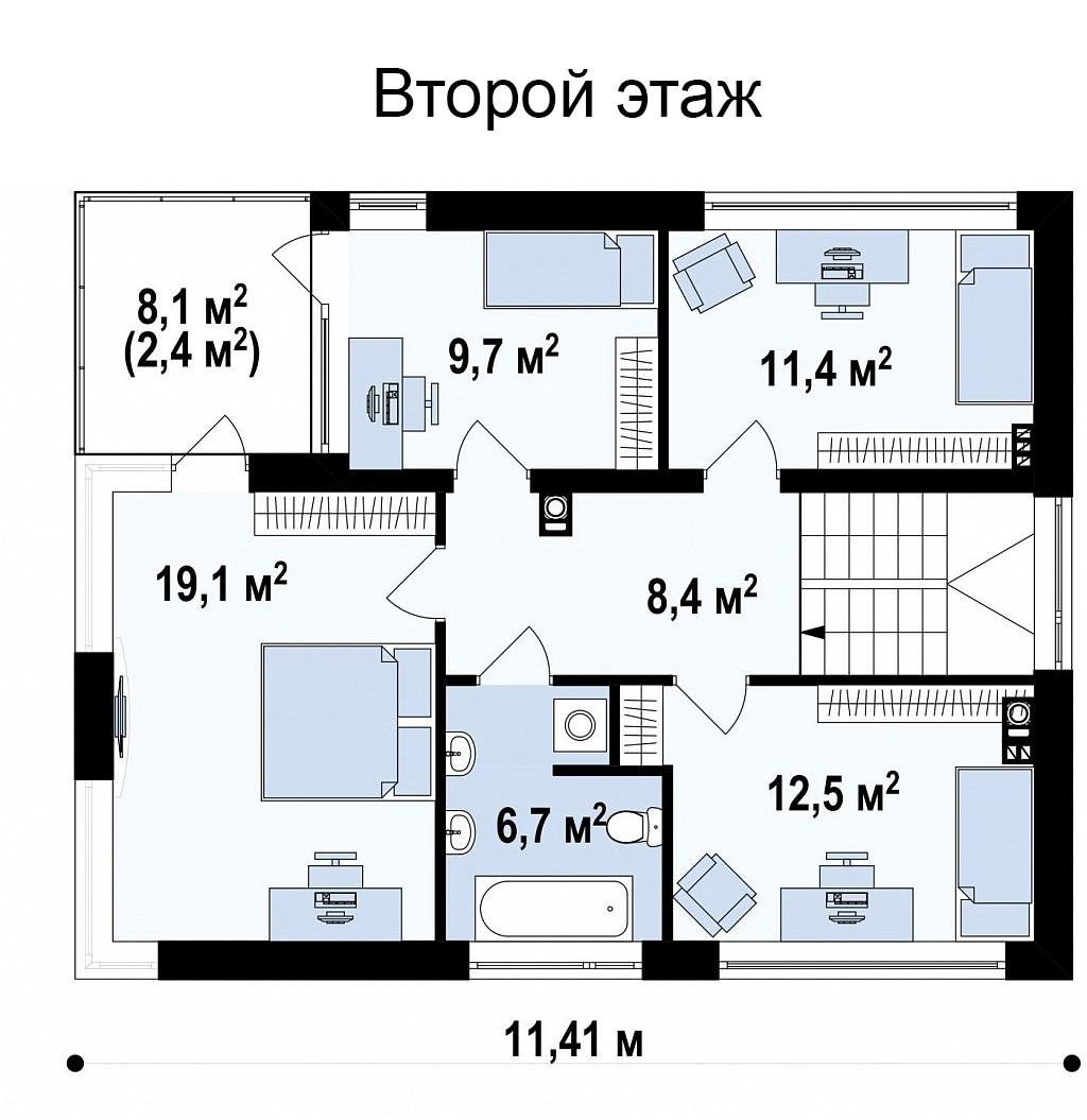 Двухэтажный коттедж из газобетона 171м