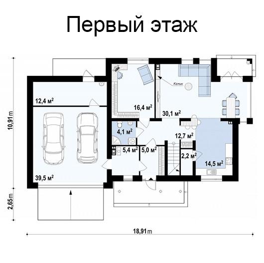 Двухэтажный дом из керамического блока 226м