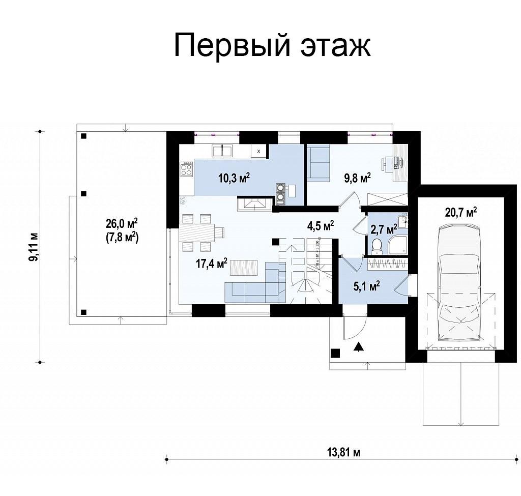 Коттедж из газобетона 138м, 2 этажа