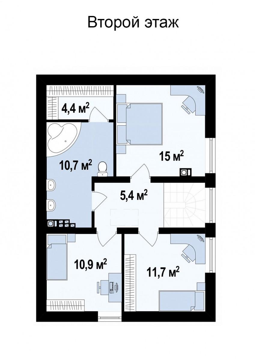 Коттедж из газобетона 146м, 2 этажа
