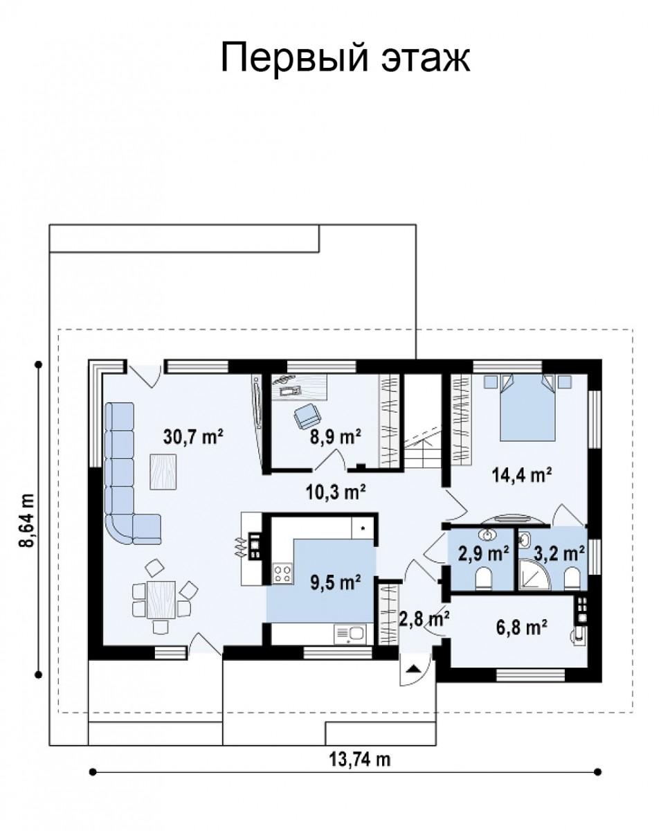 Коттедж из керамического блока 181м, 2 этажа