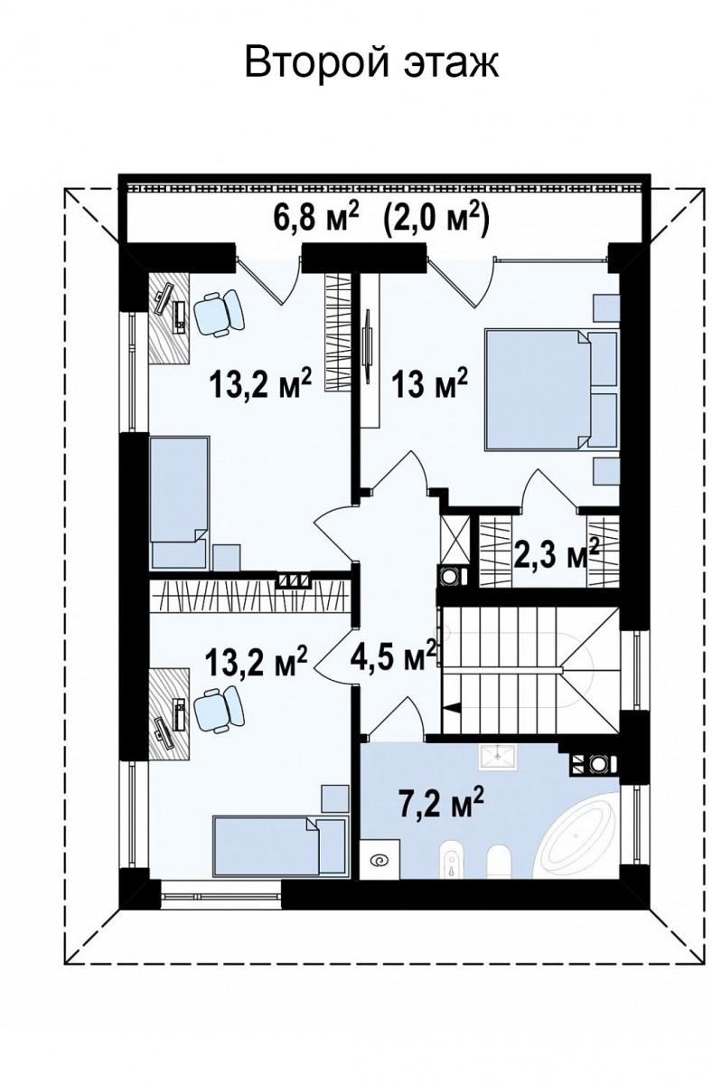 Коттедж из газобетона 122м, 2 этажа