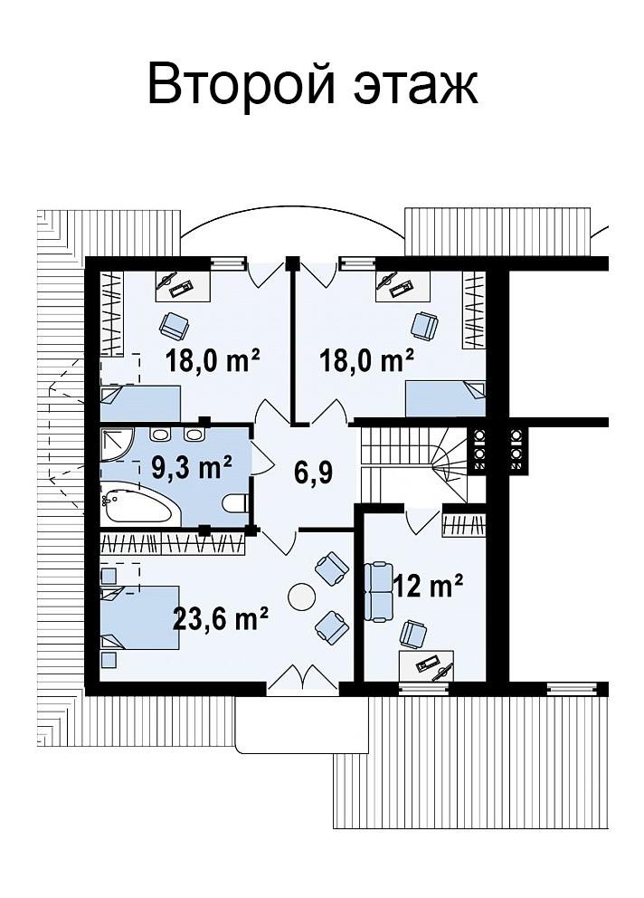 Двухэтажный коттедж из газобетона 223м
