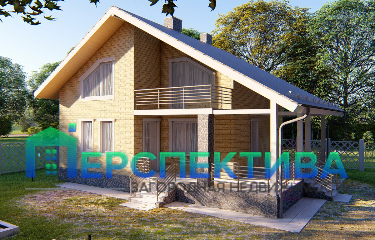 Дом с мансардой из кирпича 101м