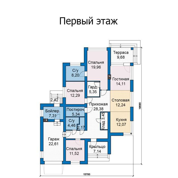Одноэтажный дом из кирпича 169м