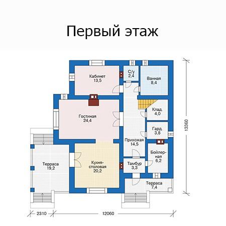 Двухэтажный дом из газобетона 197м